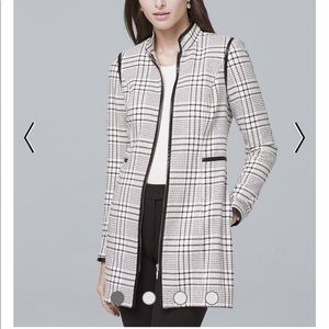 Faux leather trim plaid jacket in ecru and black